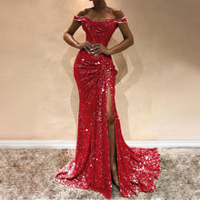 Load image into Gallery viewer, DRESS Sexy Slash Neck Sequins Sexy Women Party Dress - EK CHIC