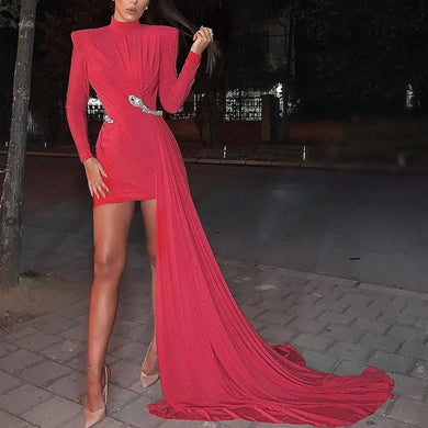 DRESS Red High Neck Long Sleeve Bodycon Without Belt Dress - EK CHIC
