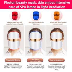 LED MASK Next Generation 3 COLOR LED Face Mask - Face Rejuvenation/Wrinkle Control - EK CHIC