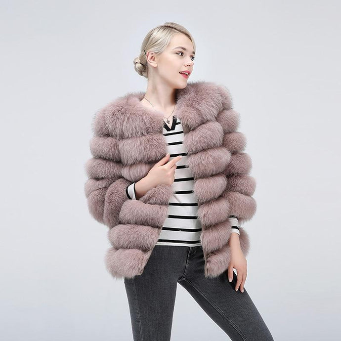 FUR COAT 100% Real Fox Fur Jacket - EK CHIC