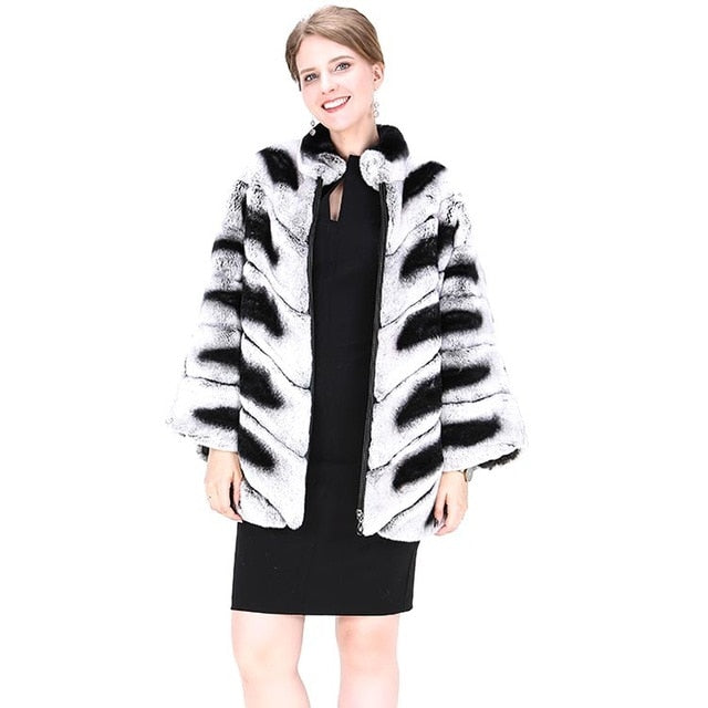 FUR COAT Natural Chinchilla Black & Light Gray Striped Full Pelt Fur Coat - EK CHIC