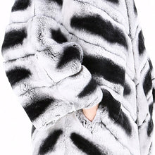 Load image into Gallery viewer, FUR COAT Natural Chinchilla Black & Light Gray Striped Full Pelt Fur Coat - EK CHIC