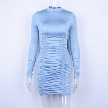 Load image into Gallery viewer, DRESS Sexy Mini Long Sleeve Drawstring Dress - EK CHIC