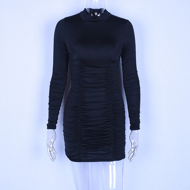DRESS Sexy Mini Long Sleeve Drawstring Dress - EK CHIC