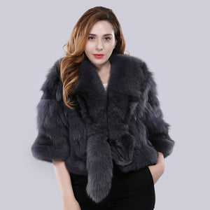 FUR Genuine Real Fox Fur Coat /Overcoat - EK CHIC
