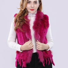Load image into Gallery viewer, FUR VEST Natural Rabbit Fur Vest W/Fur Collar - EK CHIC