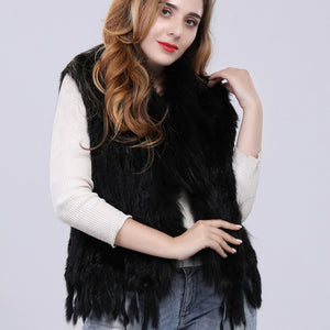 FUR VEST Natural Rabbit Fur Vest W/Fur Collar - EK CHIC
