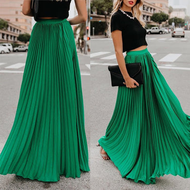 SKIRT Pleated Chiffon High Waist Women's Maxi Skirt - EK CHIC