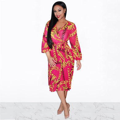 DRESS Plus Size Chain Print Bohemian Long Sleeve Midi Dress - EK CHIC