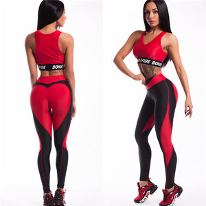 LEGGINGS Red Heart Printed High Waist Push Up Leggings - EK CHIC