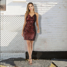 Load image into Gallery viewer, DRESS Sexy Sequined Spaghetti Strap Mini Dress - EK CHIC