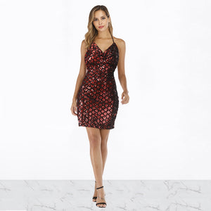 DRESS Sexy Sequined Spaghetti Strap Mini Dress - EK CHIC