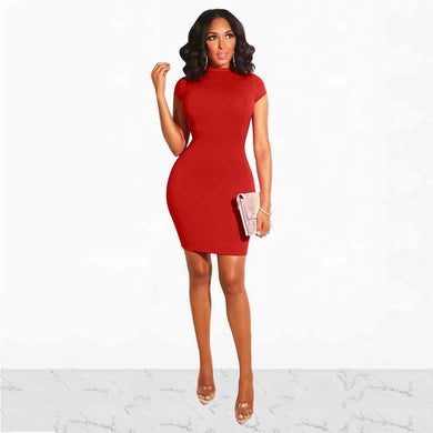 DRESS Red Elegant O-Neck Mini Dress - EK CHIC