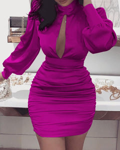 Silk/Satin  Solid Cut Out Chest Backless Ruched Dress - EK CHIC