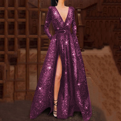 DRESS Elegant Purple Bling Dress - EK CHIC