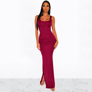DRESS High Split Dress Solid Color Elegant Fashion Dress - EK CHIC