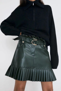 SKIRT Stylish Chic Pu Leather Mini Skirt with Belt - EK CHIC