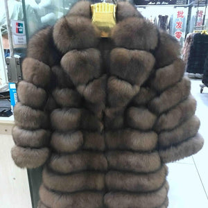FUR COAT Suit Collar Fox Fur Coat - EK CHIC