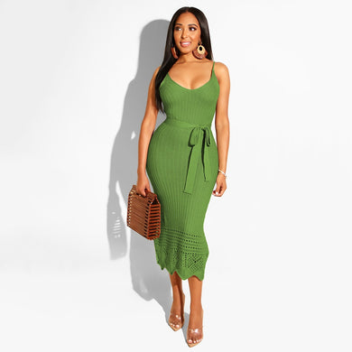 DRESS Spaghetti Strap Knitted Crochet Pencil Dress - EK CHIC
