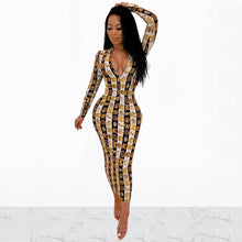 Load image into Gallery viewer, DRESS Ankle-Length Full Sleeve Maxi Pencil Dress - EK CHIC