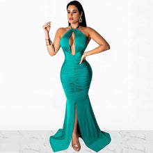 Load image into Gallery viewer, DRESS Halter Neck Open Back Tie Up High Split Backless Floor-Length Dress - EK CHIC