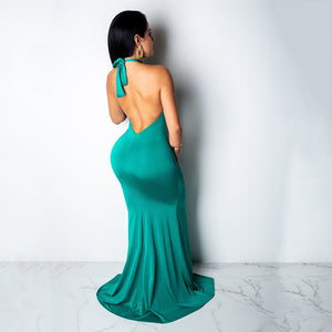DRESS Halter Neck Open Back Tie Up High Split Backless Floor-Length Dress - EK CHIC