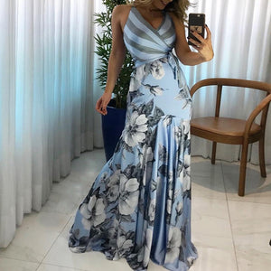 DRESS Floral Print Wrapped Tied Side Boho Maxi Dress - EK CHIC