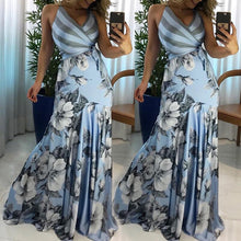Load image into Gallery viewer, DRESS Floral Print Wrapped Tied Side Boho Maxi Dress - EK CHIC