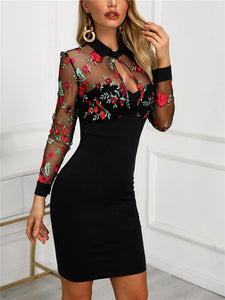 DRESS Ladies Sheer Mesh Floral Embroidery Bodycon Dress - EK CHIC