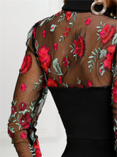 Load image into Gallery viewer, DRESS Ladies Sheer Mesh Floral Embroidery Bodycon Dress - EK CHIC