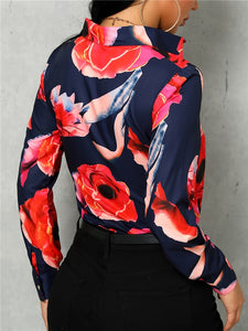 TOPS Floral Print Long Sleeve Casual Shirt - EK CHIC