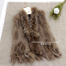 Load image into Gallery viewer, FUR VEST Knitted Natural Rex Fur Vest W/Fur Collar - EK CHIC