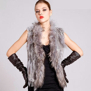 FUR VEST Knitted Natural Rex Fur Vest W/Fur Collar - EK CHIC