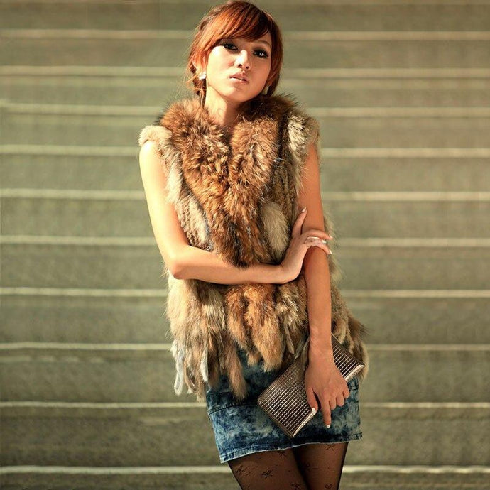FUR VEST 100% REX Natural Fur Vest/Coat - EK CHIC
