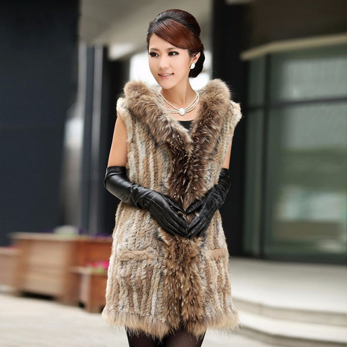 FUR VEST Rex Knitted Fur W/Colar & Hooded Jacket/Vest - EK CHIC
