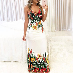 DRESS Floral Print Spaghetti Strap Deep V Slip Boho Maxi Dress - EK CHIC