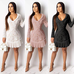 DRESS Lace Ruffles Spliced Backless Bodycon Dress - EK CHIC