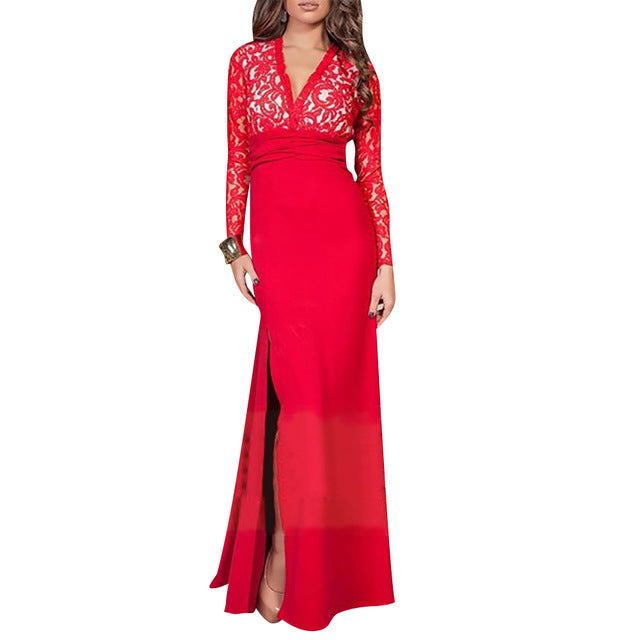 DRESS Evening Party Dress - Lace Backless Floor Length - EK CHIC