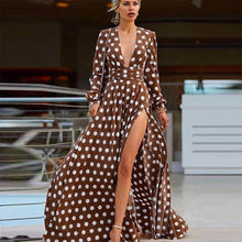 Load image into Gallery viewer, DRESS Polka Dot Split Evening Party Dress - EK CHIC
