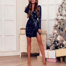 Load image into Gallery viewer, DRESS Deep V Neck Twist Front Slit Sequin Party Dress - EK CHIC