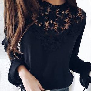 TOPS Women Fashion Sexy Flare Sleeve Lace Patchwork Shirt - EK CHIC