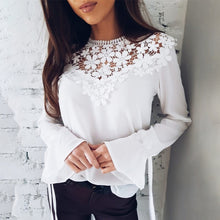 Load image into Gallery viewer, TOPS Women Fashion Sexy Flare Sleeve Lace Patchwork Shirt - EK CHIC