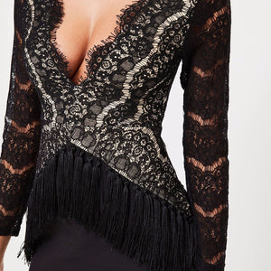 DRESS Lace Hollow Out Tassel Sexy Night Club Party Dress - EK CHIC
