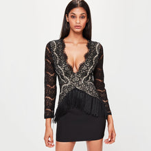 Load image into Gallery viewer, DRESS Lace Hollow Out Tassel Sexy Night Club Party Dress - EK CHIC