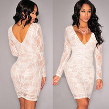 Load image into Gallery viewer, DRESS Lace Long Sleeve V-Neck Pencil Dress - EK CHIC