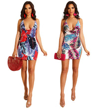 Load image into Gallery viewer, DRESS Women Leaf Print Spaghetti Strap Mini Dress - EK CHIC