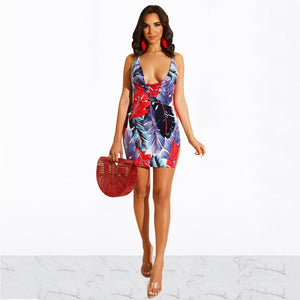 DRESS Women Leaf Print Spaghetti Strap Mini Dress - EK CHIC