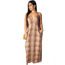 Load image into Gallery viewer, DRESS Women Leopard V-Neck Spaghetti Strap Maxi Dress - EK CHIC