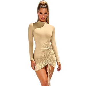 DRESS Women Long Sleeve Turtleneck Bodycon Dress - EK CHIC