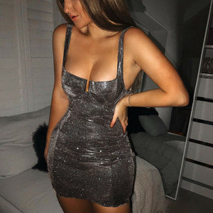 DRESS Bodycon Evening Party Sequins Strappy Mini Dress - EK CHIC
